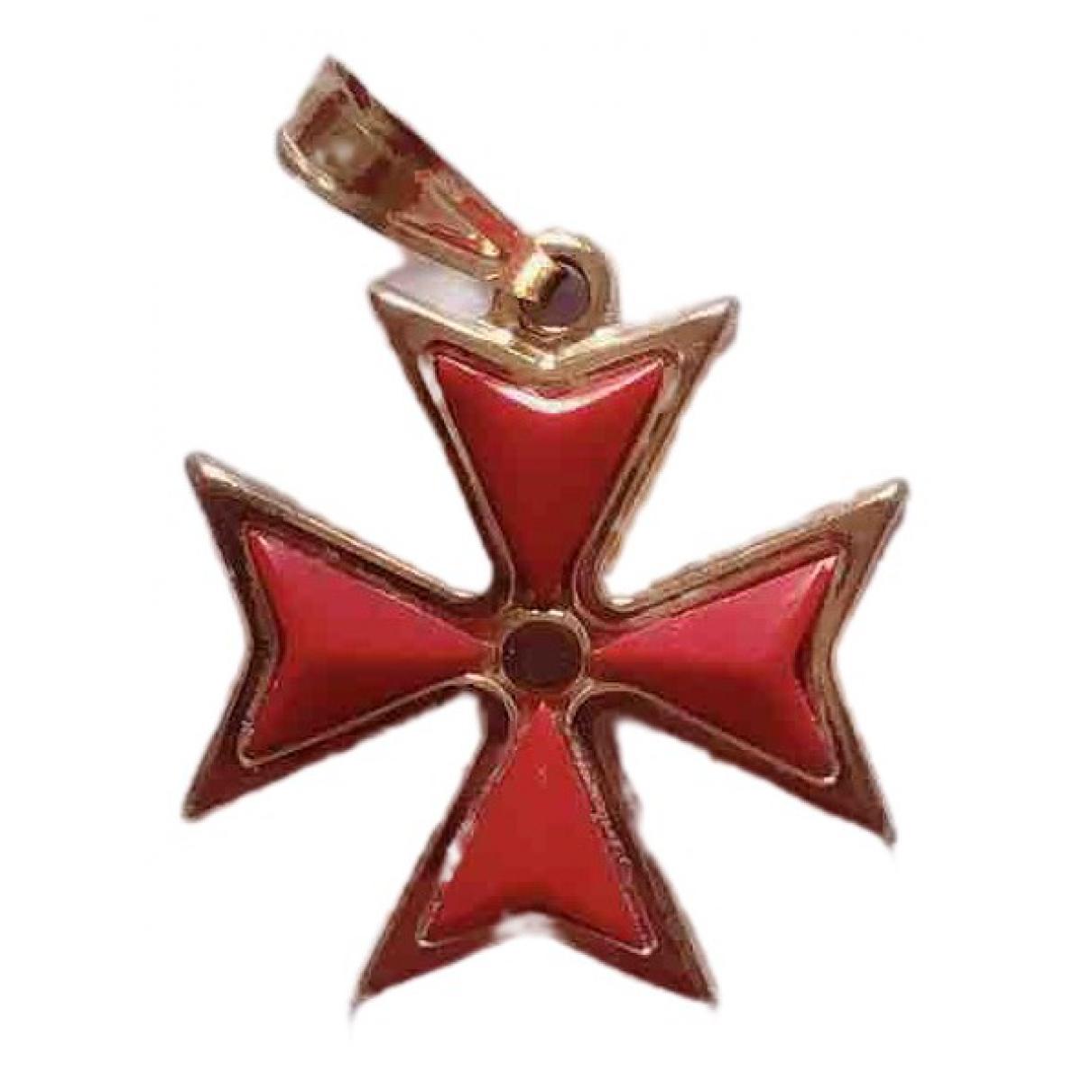 Non Signe / Unsigned Croix Anhaenger in  Rot Gelbgold