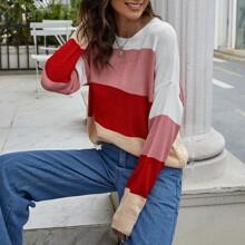 Drop Shoulder Color Block Oversize Sweater