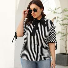 Plus Striped Tie Neck Knot Cuff Blouse