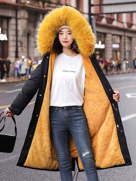 Milanoo Women Puffer Coat Green Fur Hooded Long Sleeves Drawstring Winter Coats