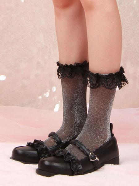 Milanoo Medias de lolita negras con volantes Calcetines de encaje Accesorios de poliester lolita