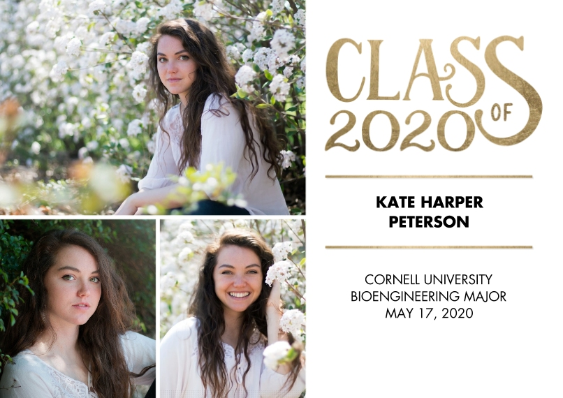 2020 Graduation Announcements 5x7 Cards, Premium Cardstock 120lb with Elegant Corners, Card & Stationery -Class of 2020 Gold by Tumbalina
