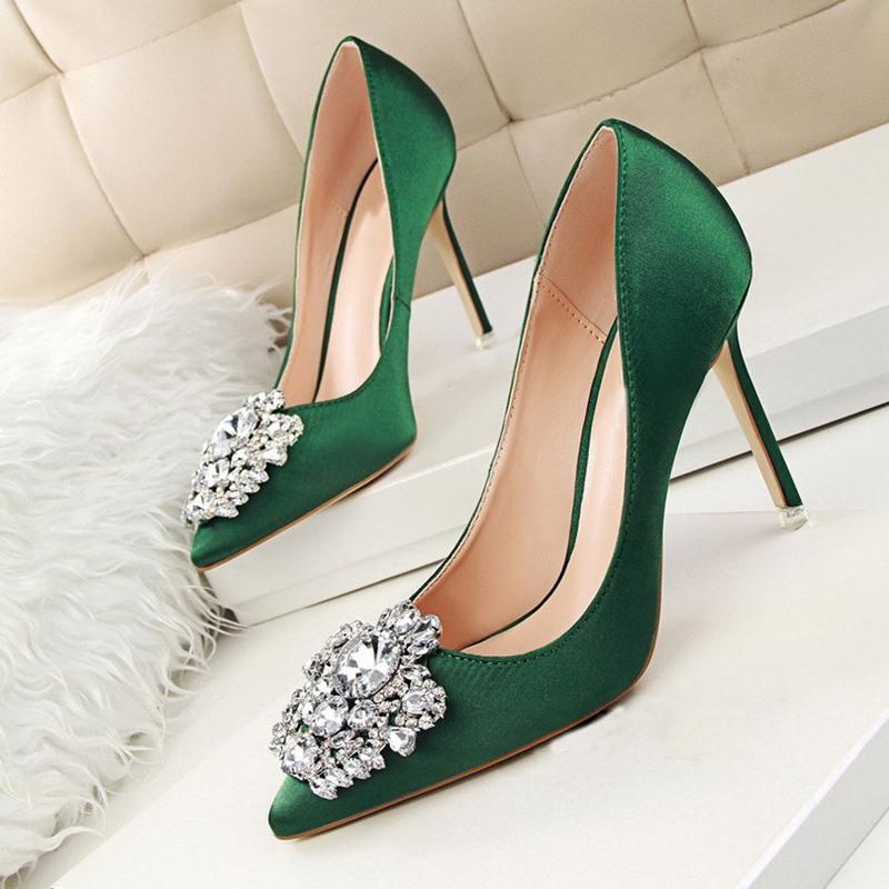 Ericdress Rhinestone Stiletto Heel Slip-On Prom Shoes