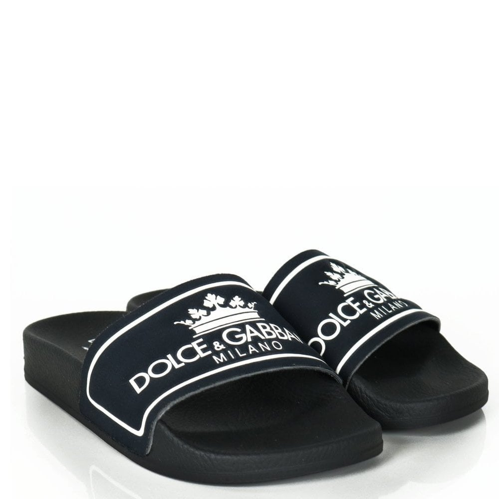 Dolce & Gabbana Kids Sliders Colour: BLACK, Size: 30