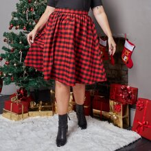 Plus Gingham Print Elastic Waist Skirt