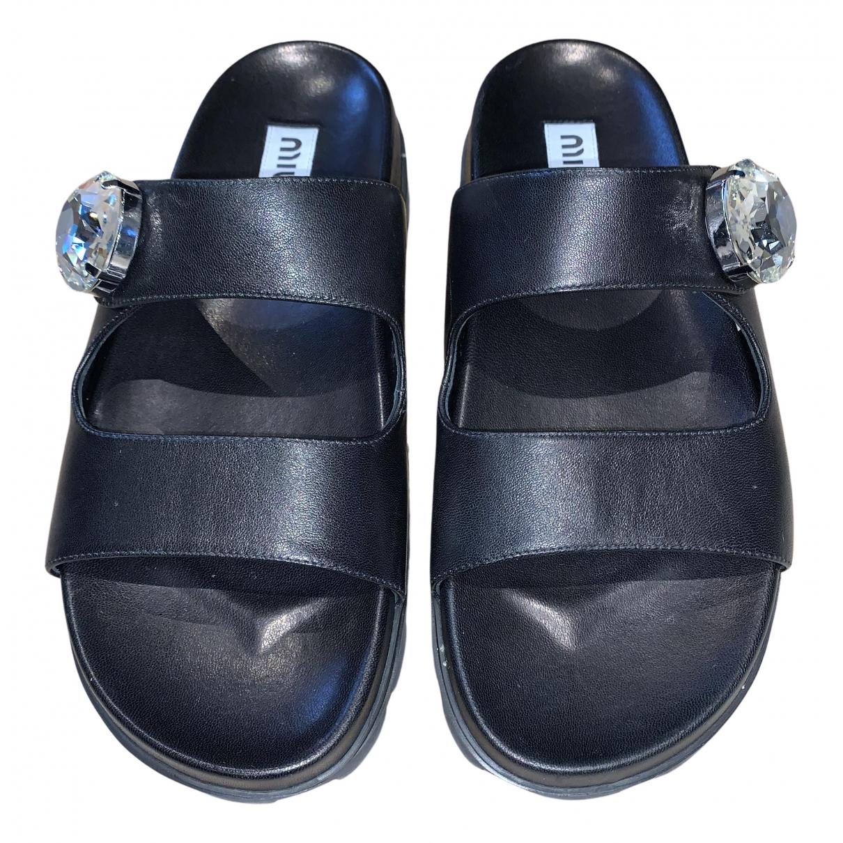 Miu Miu N Black Leather Sandals for Women 38 EU