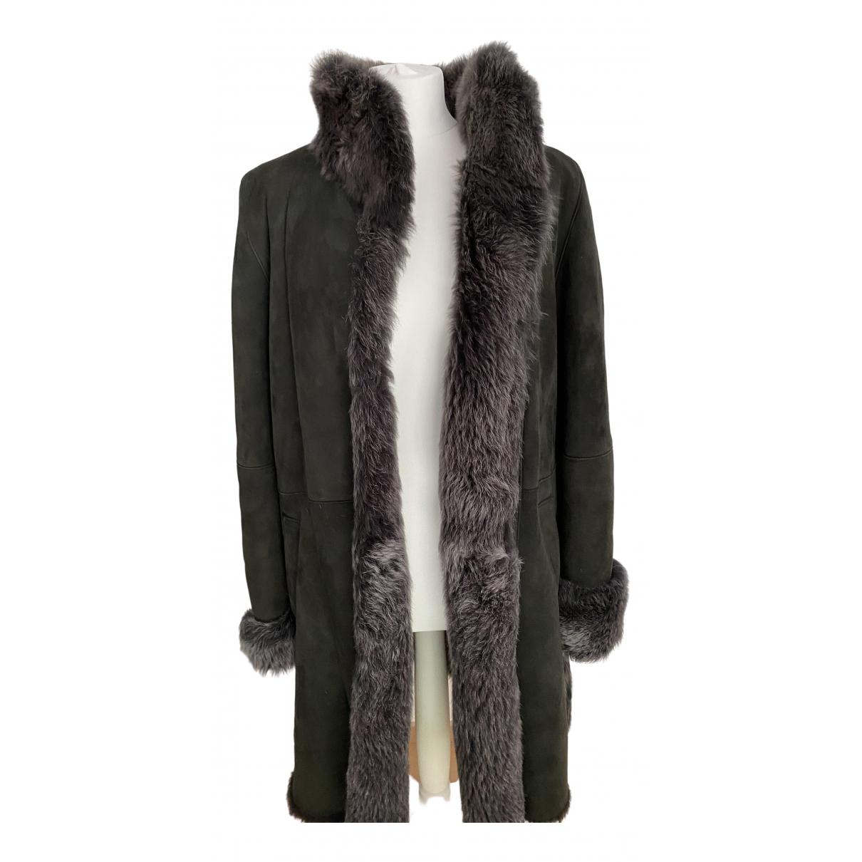 Sprung Freres - Manteau   pour femme en agneau de mongolie - gris