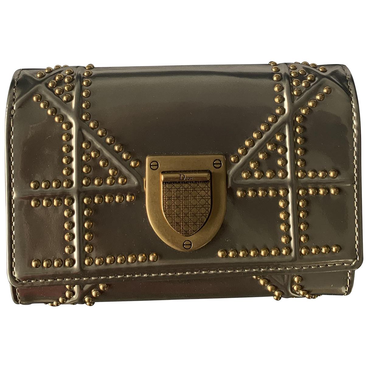 Dior - Portefeuille   pour femme en cuir verni - metallise