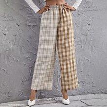 Hose mit elastischer Taille, Farbblock und Plaid Muster