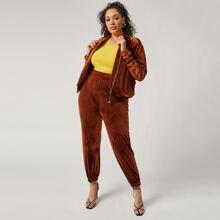 Plus Zipper Front Velvet Jacket