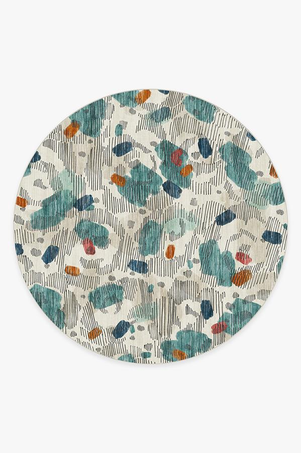 Washable Rug Cover & Pad | Leona Teal Rug | Stain-Resistant | Ruggable | 8' Round