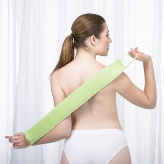 Exfoliating Loofah Back Scrubber Long Shower & Bathtub Body Sponge Scratchier With Natural Luffa Set (Green)
