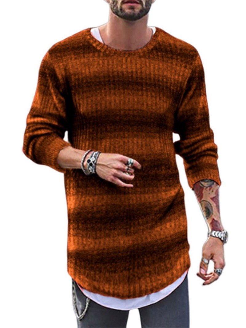 Ericdress Stripe Mid-Length Round Neck Casual Loose Mens Sweater