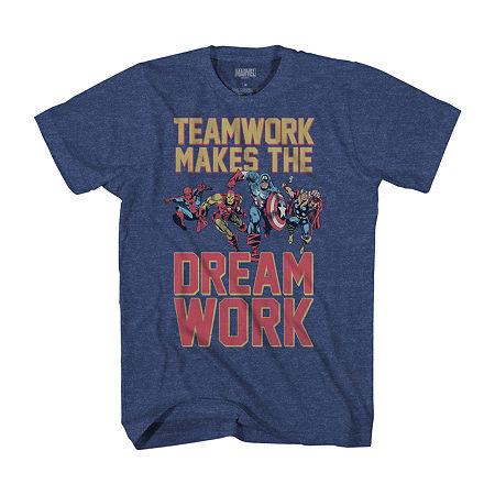 Mens Crew Neck Short Sleeve Marvel T-Shirt, Large , Blue