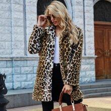 Kunstpelz Mantel mit Leopard Muster und offener Vorderseite