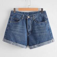 Shorts denim de talla grande Bolsillo Liso Azul Casual