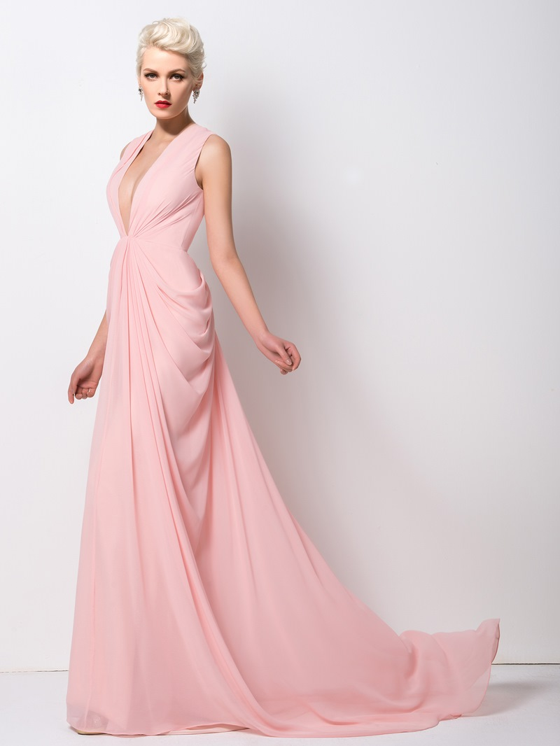 Ericdress Classy Deep-V Neck Ruched Long Evening Dress