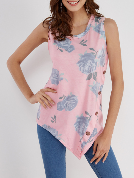 Yoins Pink Floral Print Round Neck Button-down Tank Top