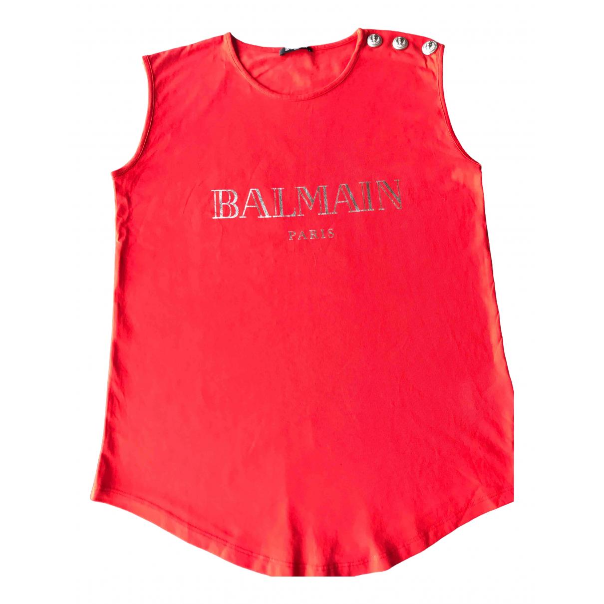 Balmain - Top   pour femme en coton - rouge