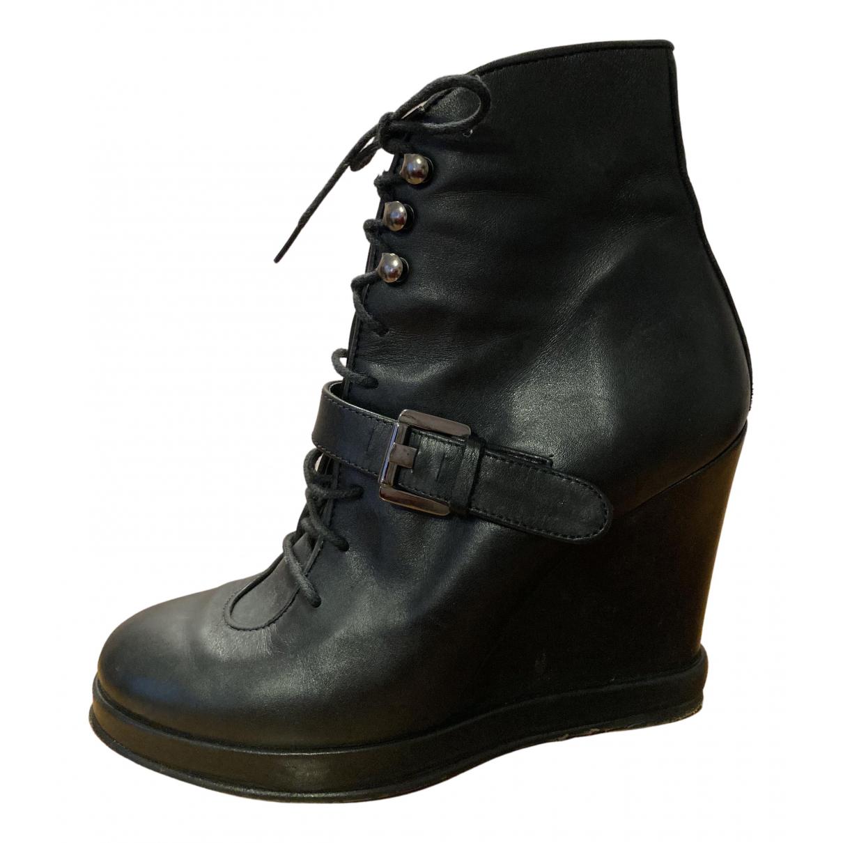 Surface To Air - Boots   pour femme en cuir - noir