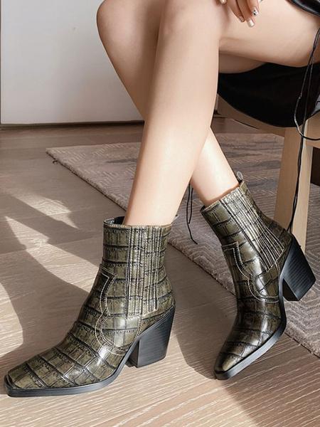 Milanoo Botas Cowboy Mujer Botines para mujer Botines con punta cuadrada Chunky Heel Crocodile Print 3.1 Botines