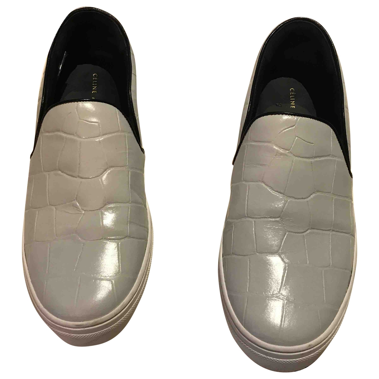 Celine \N White Leather Trainers for Women 38 EU