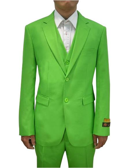 Alberto Nardoni Mens Vested 3 Piece Suit Apple Green