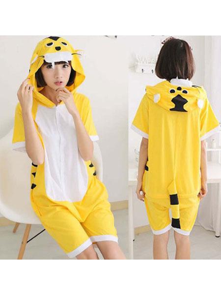 Milanoo Disfraz Halloween Pijamas de Kigurumi Tiger Onesie Shorts amarillos Summer Summer Sleepwear para adultos Carnaval Halloween