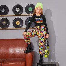 Top mit Buchstaben Grafik & Hose mit Klappe, seitlichen Taschen und Camo Muster Set