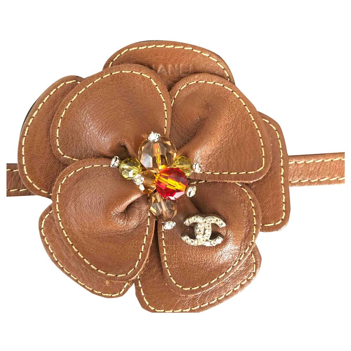 Chanel - Bracelet CC pour femme en cuir - marron