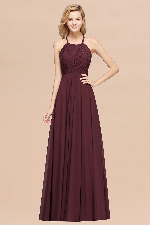 BMbridal Halter Crisscross Pleated Bridesmaid Dress Blue Chiffon Sleeveless Maid of Honor Dress