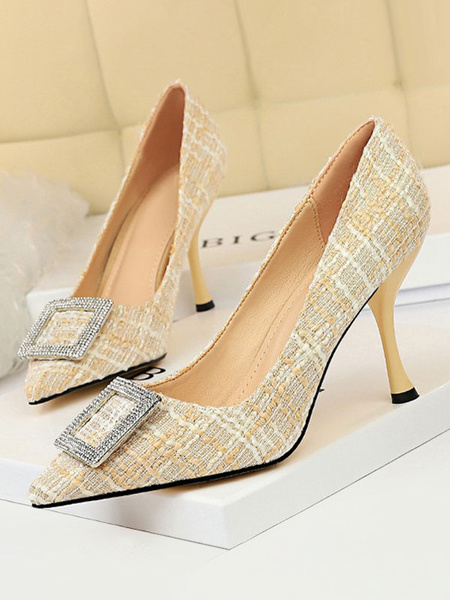 Milanoo High Heels Women Pointed Toe Printed Goblet Heel Chic Metal Details Apricot Shoes