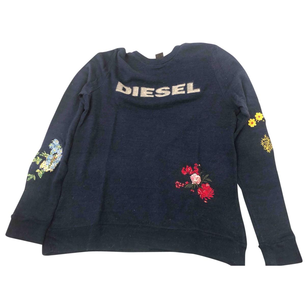 Diesel - Pull   pour femme en coton - bleu