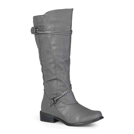 Journee Collection Womens Harley Riding Boots, 10 Medium, Gray