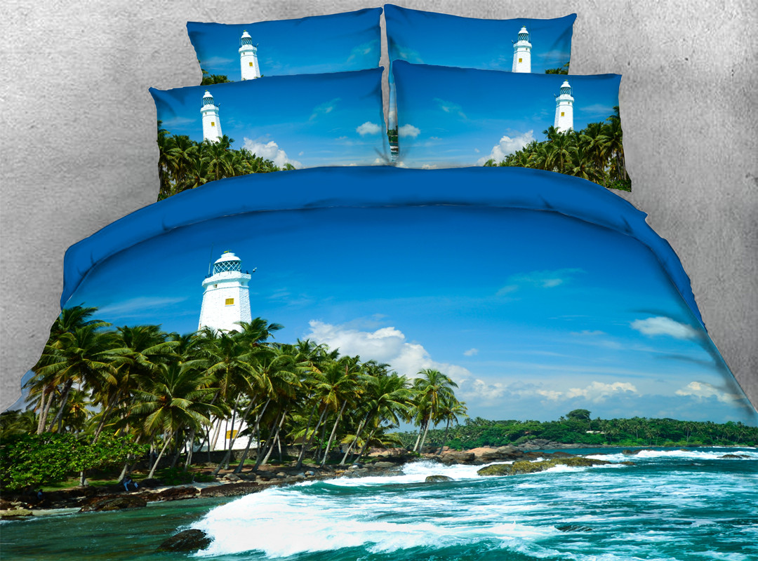 3D Palm Tree and Lighthouse 4-piece No-fading Soft Bedding Sets Durable Scenery Zipper Duvet Cover with Non-slip Ties