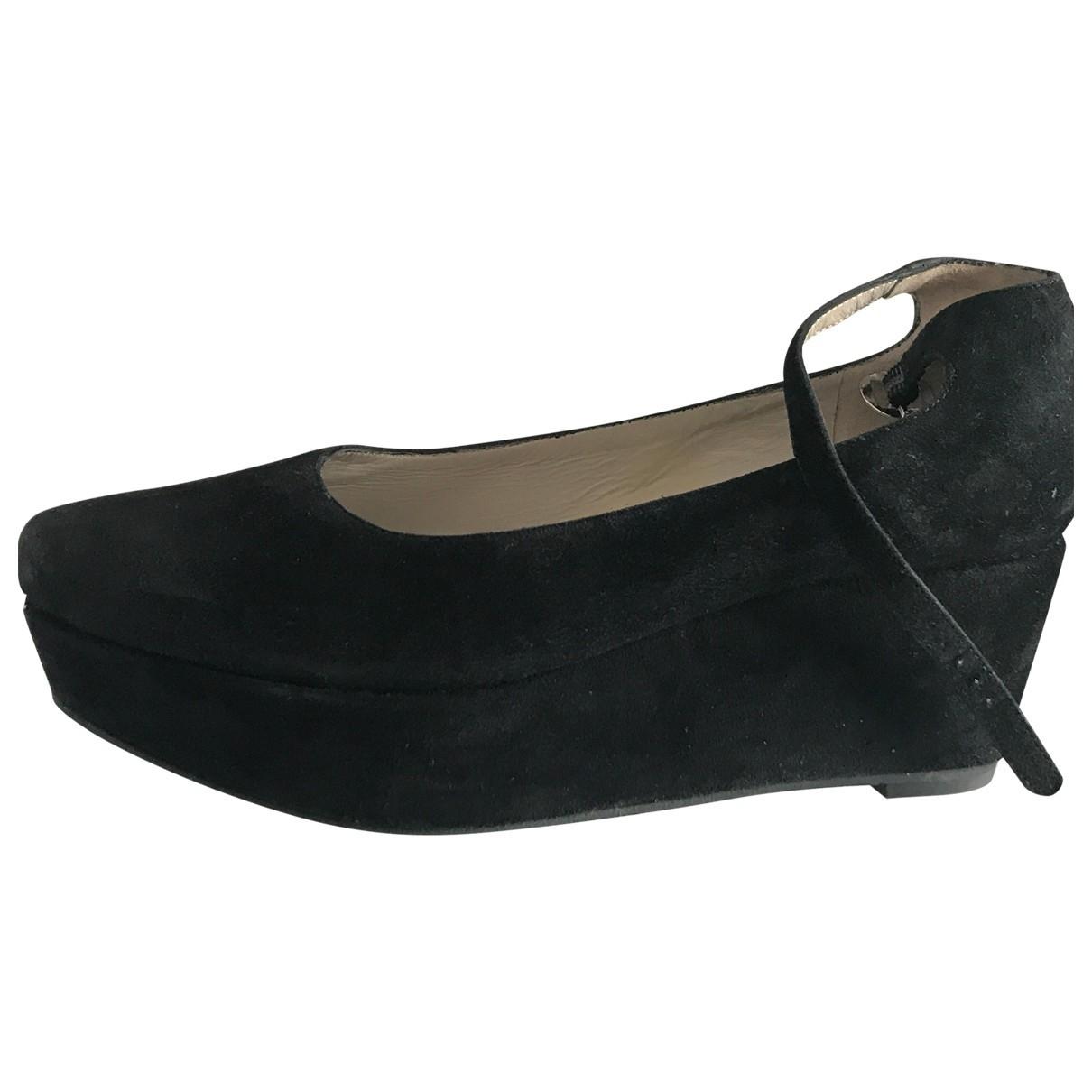 Robert Clergerie \N Black Suede Heels for Women 6 UK