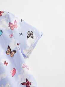 Butterfly Print Crop Tee
