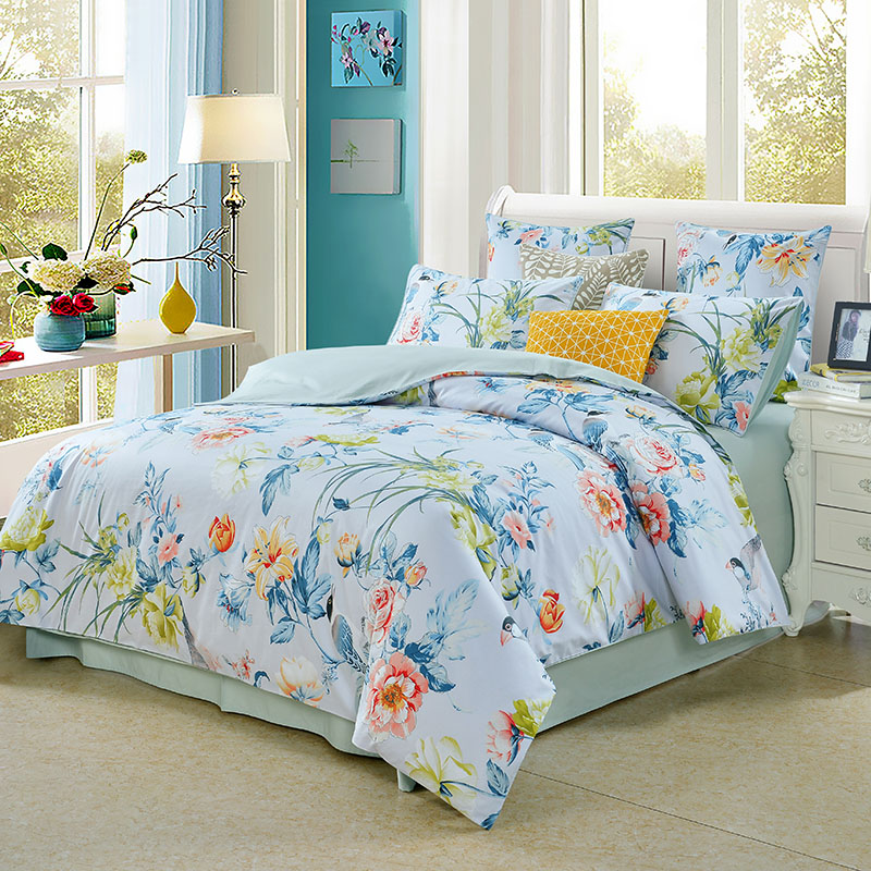 Fresh Plant And Animal Bird Flower Printing 3-Piece Set Polyester Bedding Sets All-Season Ultra-soft Duvet Cover and 2 Pillowcases