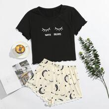 Schlafanzug Set mit Mond & Buchstaben Grafik
