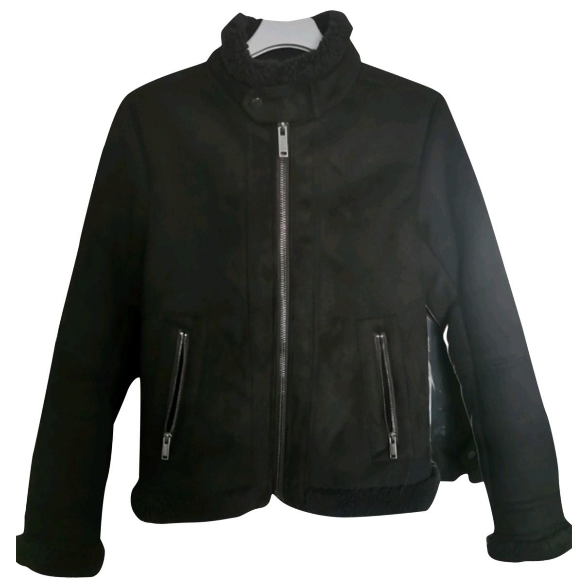 Ikks \N Black Denim - Jeans Leather jacket for Women 40 FR