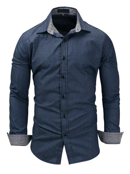 Milanoo Camisas informales para hombres Camisas azules de gran tamaño con cuello descubierta Camisas extragrandes