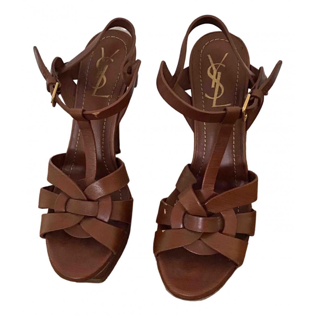 Yves Saint Laurent Tribute Camel Leather Sandals for Women 39 EU