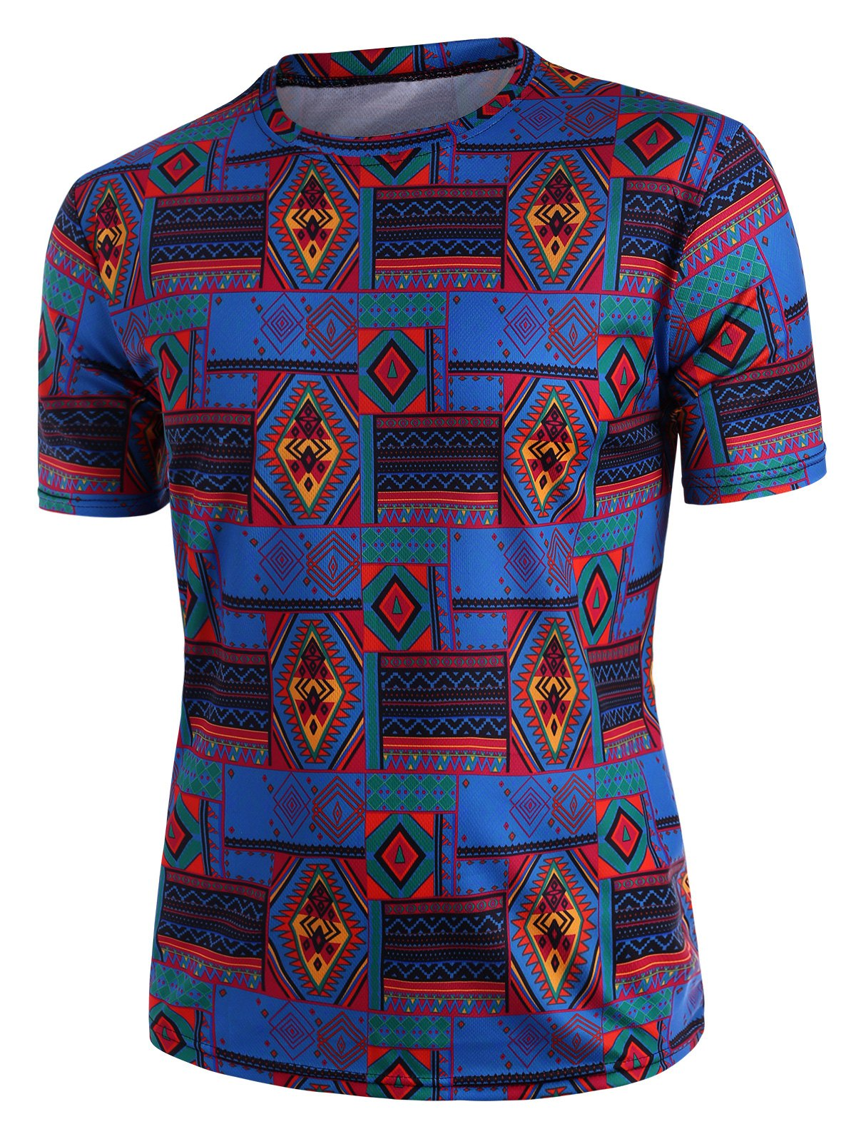 Ethnic Rhombus Print Crew Neck T Shirt