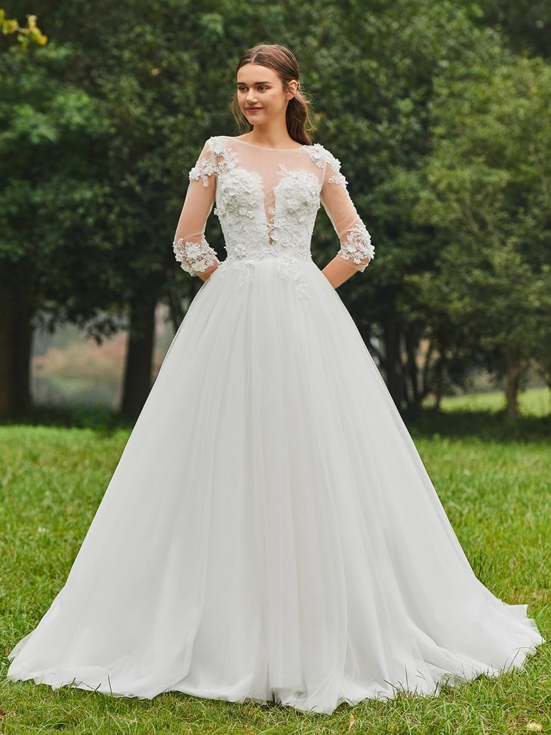 Ericdress 3D Flowers Half Sleeves Appliques Wedding Dress
