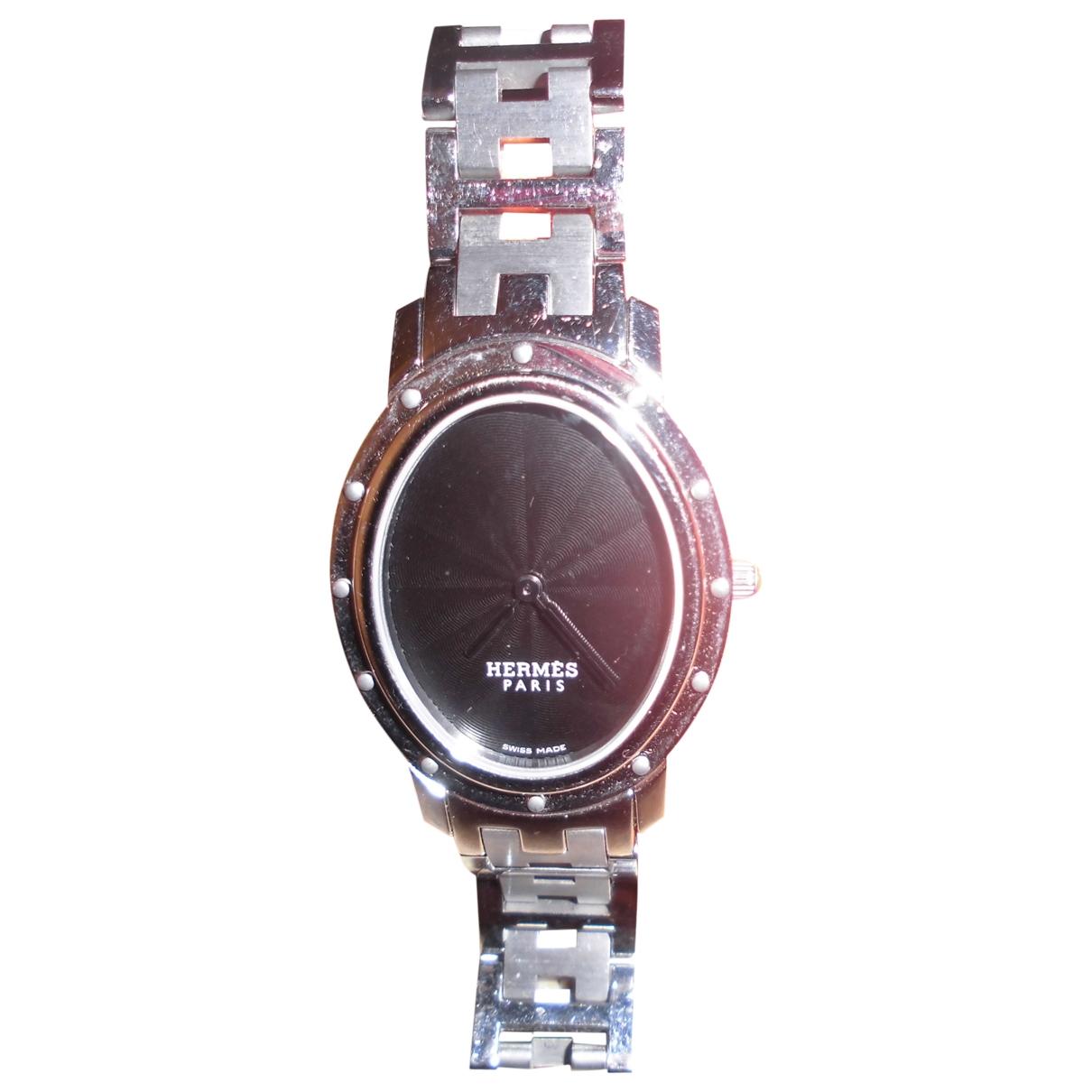 Hermes Clipper Uhr in  Grau Stahl