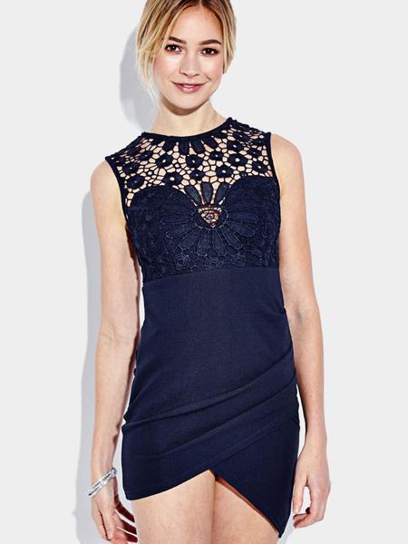 Yoins Sleeveless Irregular hem Mini Party Dress with Crochet lace Insert