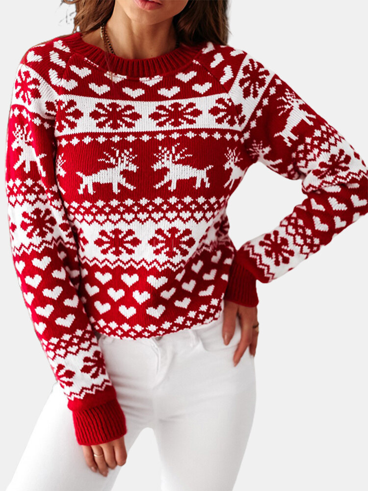 Christmas Print Long Sleeve O-neck Casual Sweater For Women