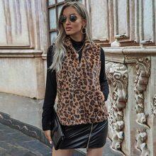 Zip Up Leopard Print Faux Fur Coat