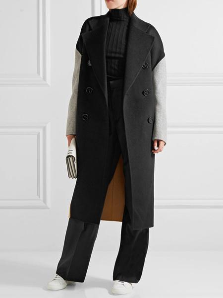 Milanoo abrigo mujer negro con manga larga de cuello vuelto de mezclada de lana de color-blocking con botones Normal estilo moderno Otoño Invierno