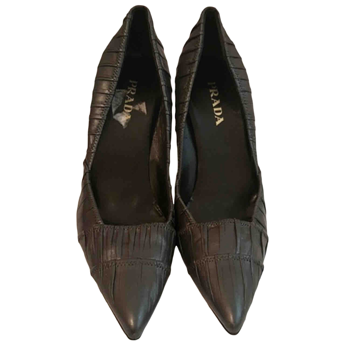 Prada \N Grey Leather Heels for Women 38.5 EU